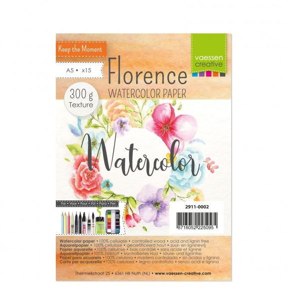 Vaessen Creative - Florence - Watercolor Paper - 300gr Textured - A5 - (15pcs)