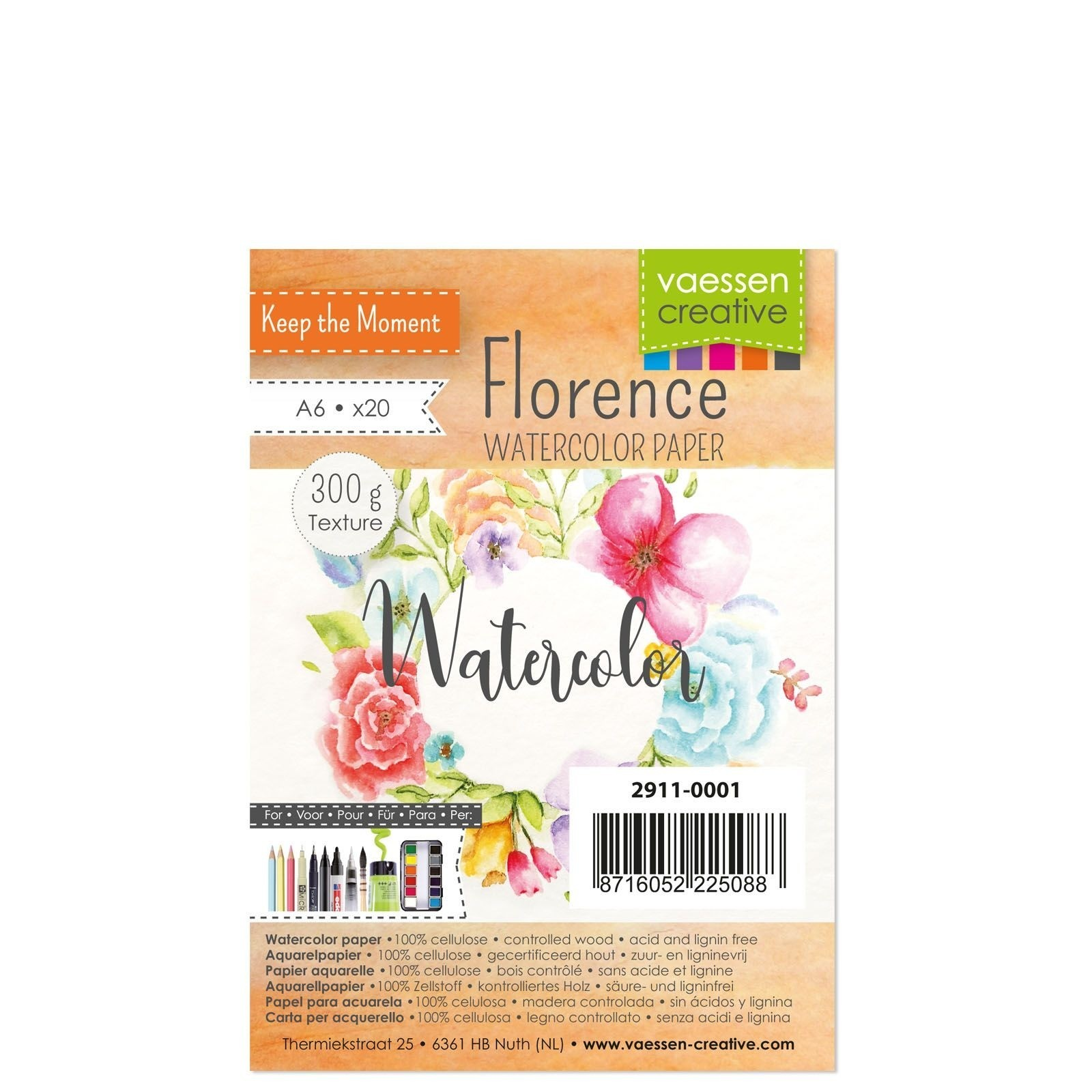 Vaessen Creative - Florence - Watercolor Paper - 300gr Textured - A6 - (20pcs)