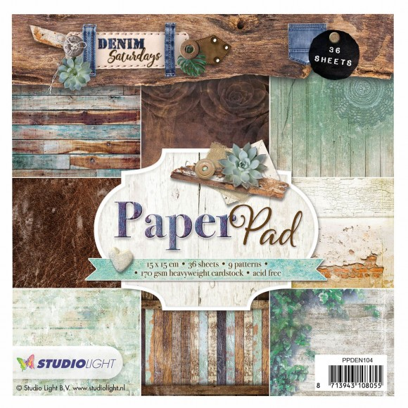 Studio Light Paper pad 15x15cm Denim saturdays nr.104