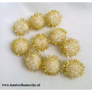 Wit / Goud Glitterpompons