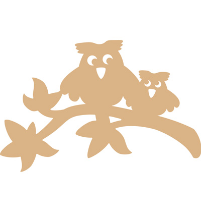 Owls on branche MDF  26,5cm breed