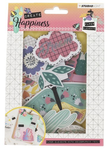 Studio Light - Create Happiness - Die Cut Paper Set - nr. 647 - 44 pcs
