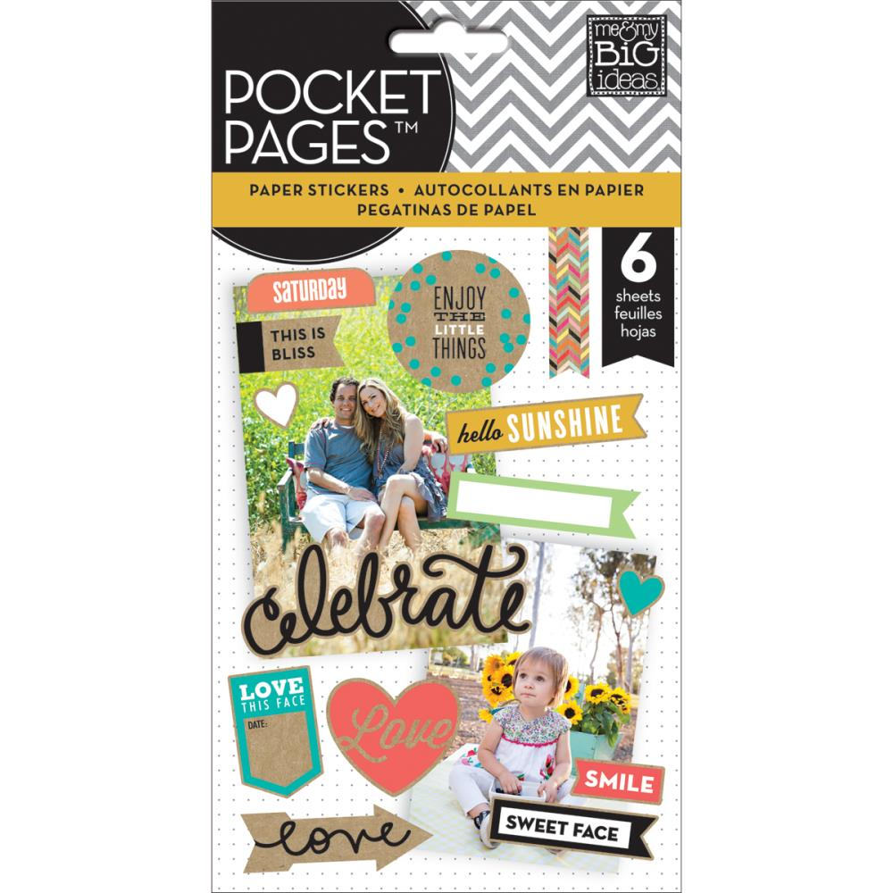 The Happy Planner- Pocket Pages Clear Stickers - Smile - 6/Pkg