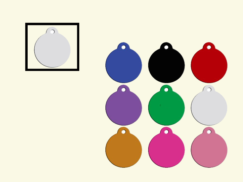 Dog tags Rond Wit