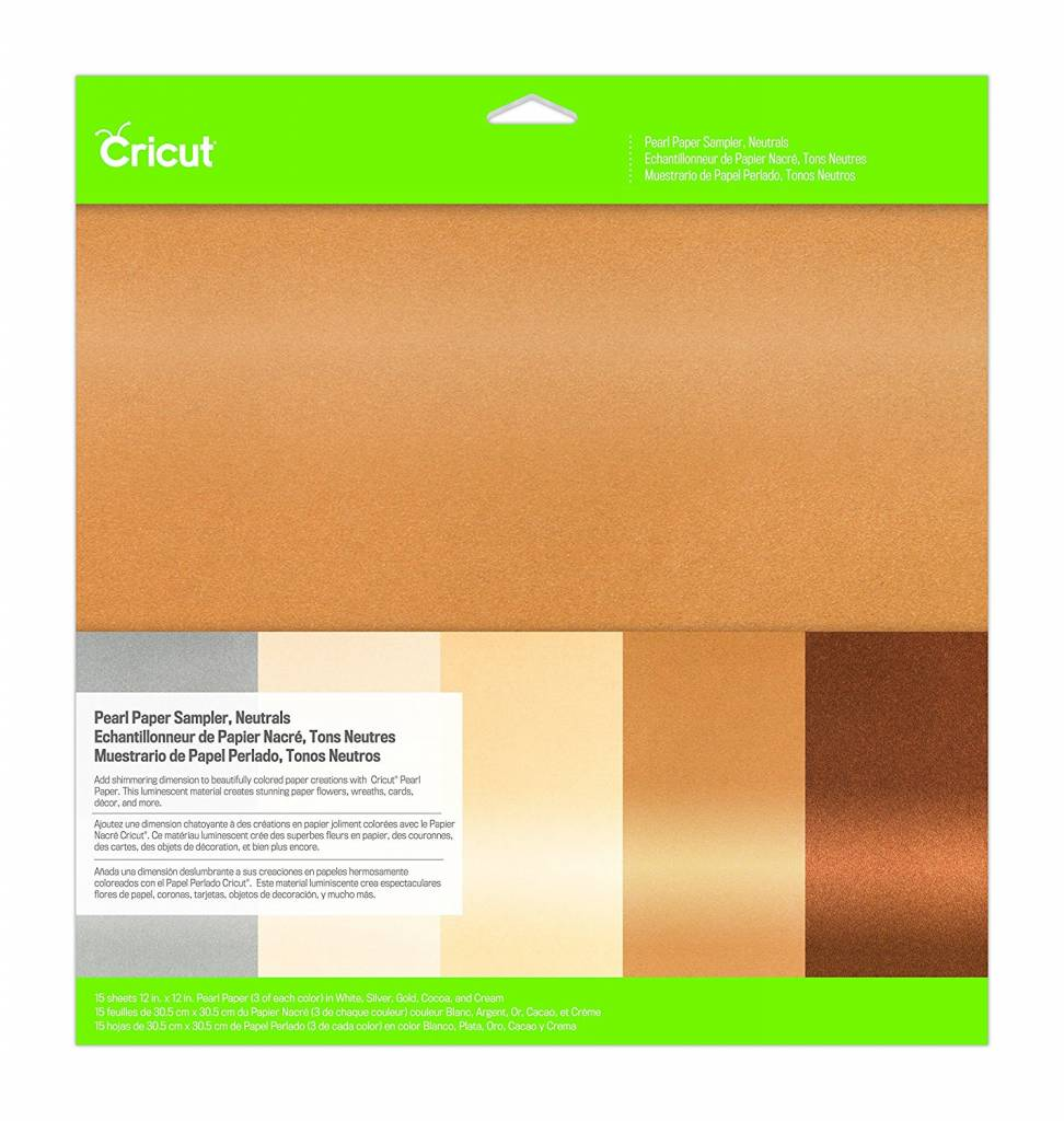 Cricut - Pearl Paper Sampler - Neutrals - 12 in.x12 in. (15pcs)