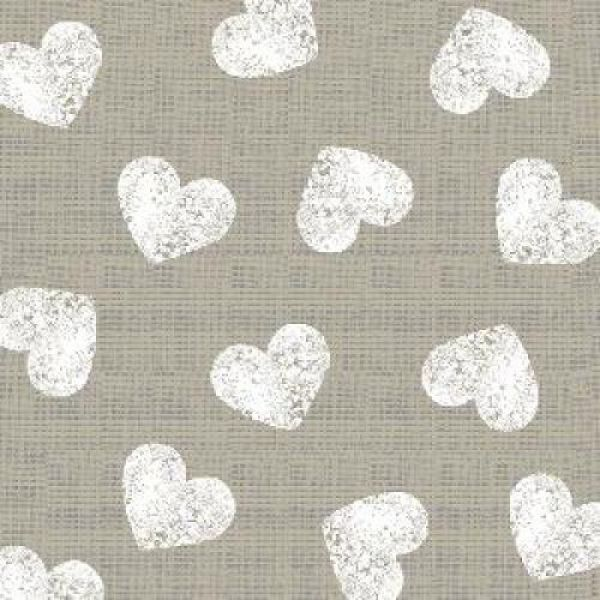 Servet Fashion Hearts taupe white