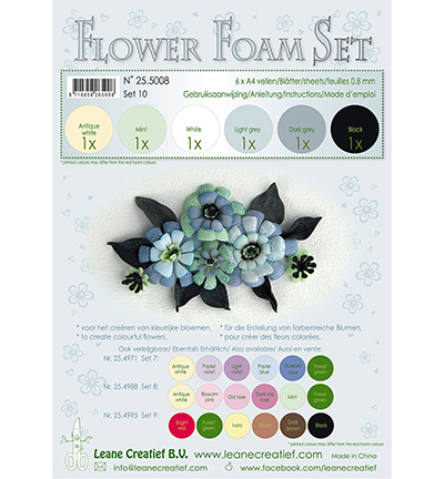 Leane Creatief - Flower Foam - Set 8 Black Grey Colours