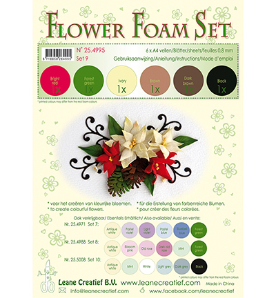 Leane Creatief - Flower Foam - Set 7 Brown Red Green Colours
