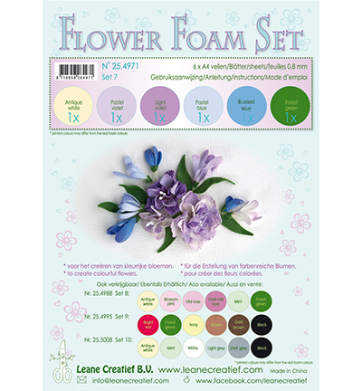 Leane Creatief - Flower Foam - Set 7 Pastel Blue Violet Colours