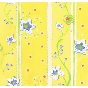 K&Company KH Yellow Floral Striped Flat Paper