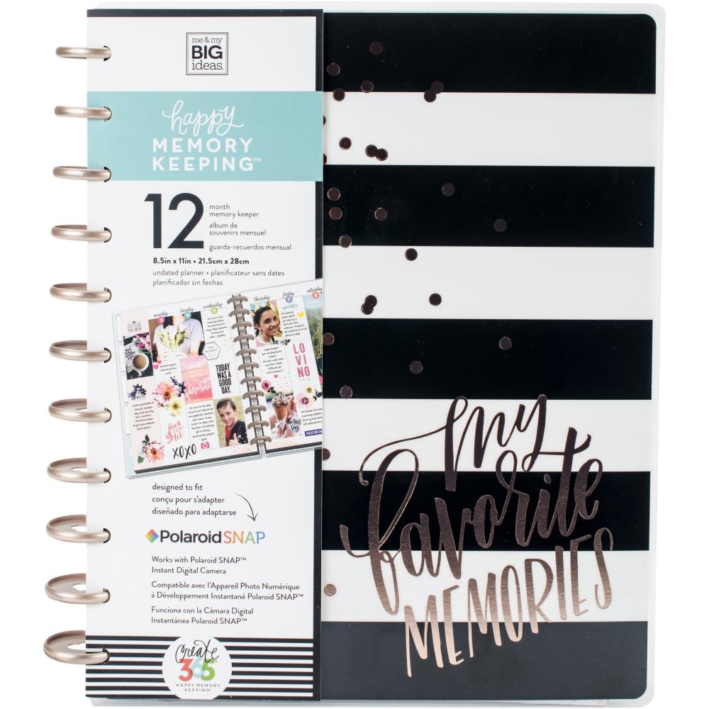 Happy Memory Keeping - Black / White stripes -  Happy Memory Big - Undated 12 month big planner
