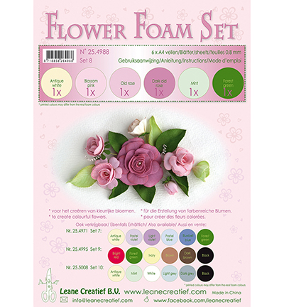 Leane Creatief - Flower Foam - Set 8 Old Rose Colours