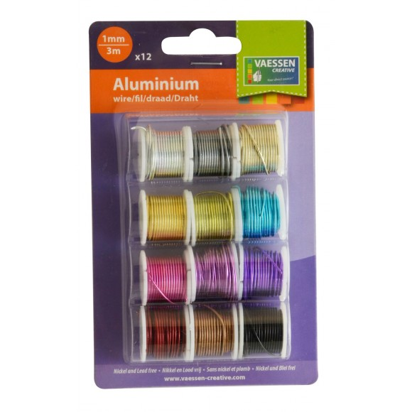 Vaessen Creative - Aluminium wire - Assorti - 1mm x 3mtr - 12 pcs