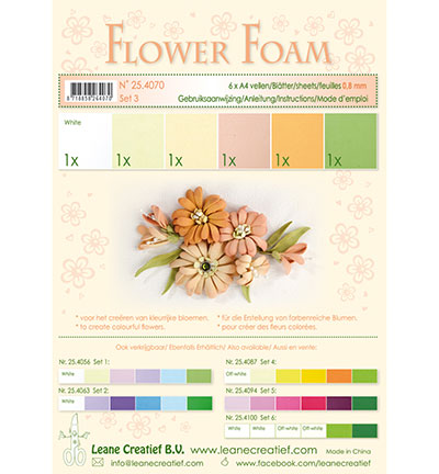 Leane Creatief -  Flower Foam - Set 3 Salmon Colours