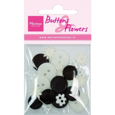 Black & White Buttons & Flowers